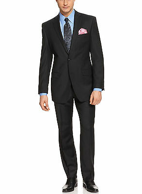 Calvin Klein Regular Fit Black Pinstriped Two Button Wool Suit