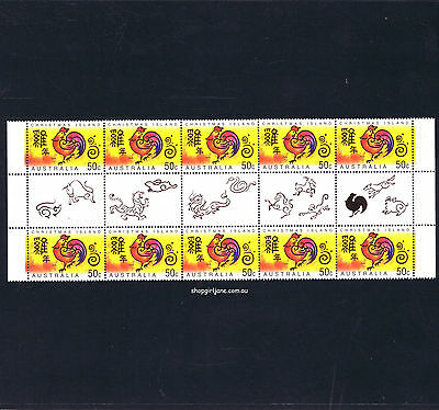 2005 Australia Christmas Island Year of the Rooster 50¢ gutter strip of 10 - MNH