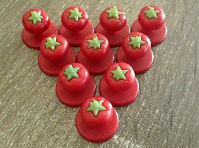 Chef Jacket Buttons, Tomato, Red, 20 Buttons