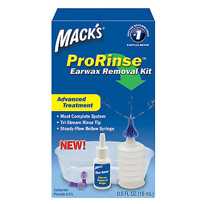 Macks Pro Rinse Complete Ear Wax Removal Kit Safe Gentle Blocked Hearing Remedy