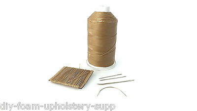 Beige Strong 1mm thick waxed leather hand sewing stitching thread & needles