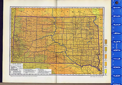SOUTH DAKOTA - Vintage 1930s Color Map