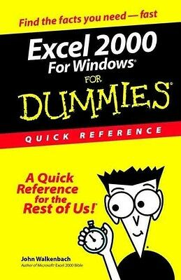 Excel 2000 for Windows for Dummies Quick Reference by John Walkenbach Paperback