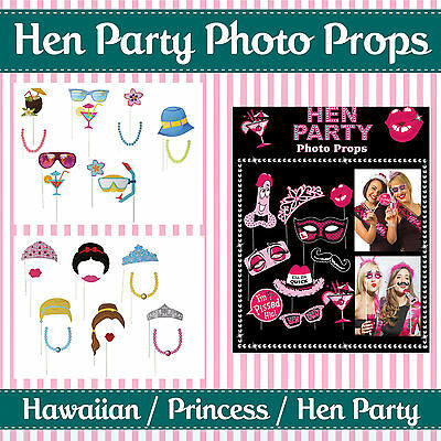 HEN PARTY SELFIE PHOTO BOOTH PROPS - Hawaii/Beach / Princess / Hen Party Themed
