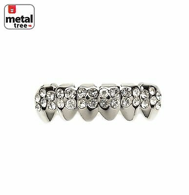 Hip Hop Iced Out 14k White Gold Plated Bottom Silver CZ Mouth Caps Grillz S002-S