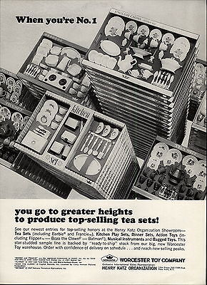 1967 PAPER AD Worcester Toy Co Play Tea Sets Kitcdhen Barbie Bozo The Clown