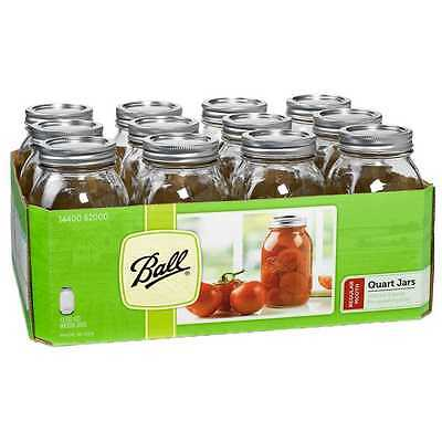 12 x Quart 1 Litre Ball Mason Regular Mouth Canning Jars and Lids BPA Lead FREE