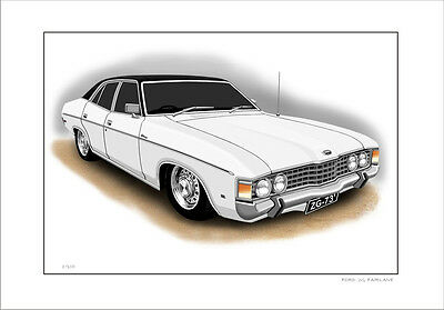 Ford  73'  76'  Zg  Fairlane  500  351 V8  Limited Edition Car Print  Drawing