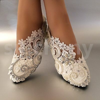 su.cheny White ivory pearls rhinestones lace flat Wedding shoes Bridal size 5-12