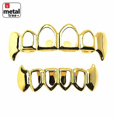 Grillz Solid Fang Four Open Face 14K Gold Plated Teeth Top & Botton  LS020 4F G