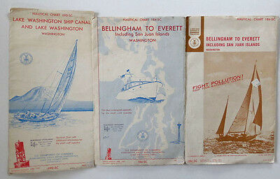 Vtg Nautical Maps Charts Bellingham-Everett  and Lake Washington Ship Canal WA