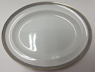 """Alfred Meakin MEA36 White Black Scroll Gold Bands Oval Serving Platter Tray 14"""""""