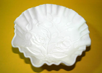 Imperial Milkglass Satin Laced Edged Bowl with Embossed Roses signed IG