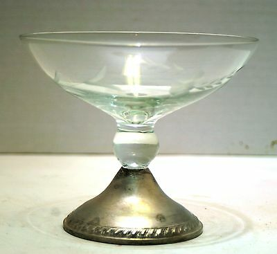 Etched Glass Compote With Sterling Base