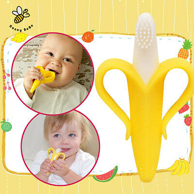 Cute Silicone Banana Bendable Baby infant Teether Training Toothbrush Toddler