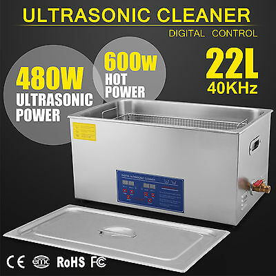 22L Liter 480W Stainless Steel Industry Heated Ultrasonic Cleaner w/Timer US UPS