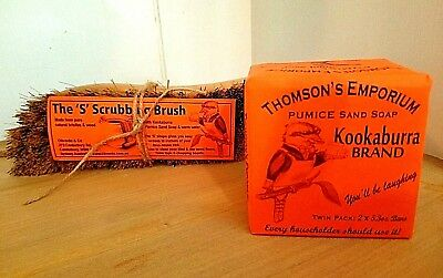 Kookaburra PUMICE Sand Soap Twin Pack with 'S' Scrubbing Brush SPECIAL #2