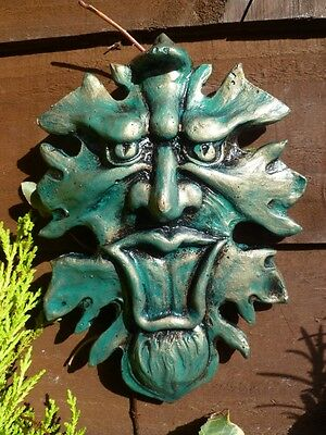 Hand Cast Green Man Tree Face Pagan Wicca Wall Hanging Garden Plaque