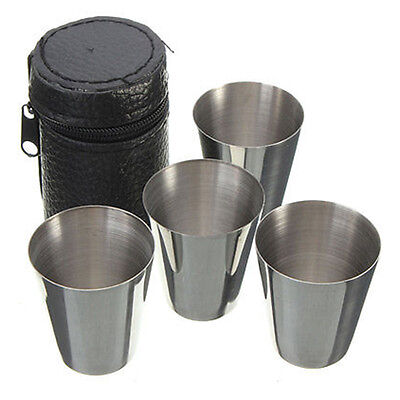 4pcs Stainless Steel Camping/Travel Cup Mug Drinking Coffee Beer Tea With Case