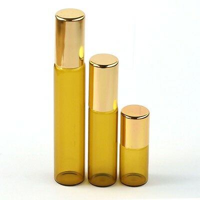 NEW 3ml 5ml 10ml Amber Roll on Glass Bottles Essential Oil Metal Roller Ball