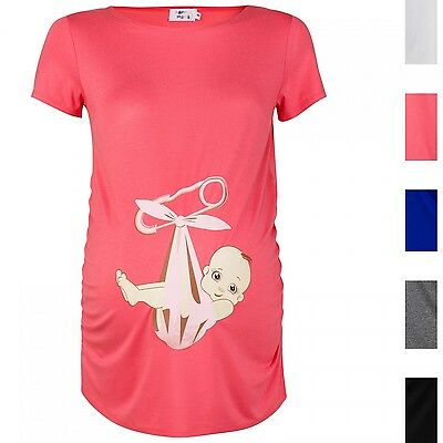 Happy Mama. Women's Pregnancy Maternity Baby in Sling T-shirt Short Sleeve. 513p