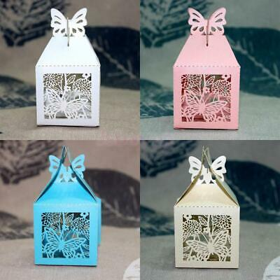 50pcs Butterfly Laser Cut Gift Candy Boxes Wedding Party Favor Ribbon