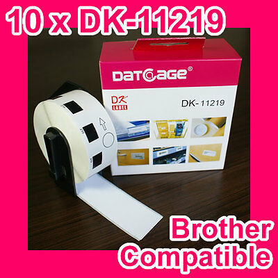 10 rolls of Compatible Brother DK-11219 Round Label. Diameter: 12mm