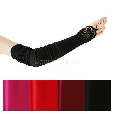Long Ruched Fingerless Satin Lace Evening Gloves Opera Party Ball Fancy Costume