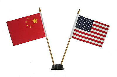 """Usa & China 4"""" X 6"""" Double Stick Flag With Black Stand On 10"""" Plastic Pole"""