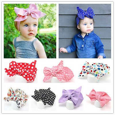 Baby Cotton Big Bow Tie Head Wrap Turban Top Knot Headband Newborn Girl