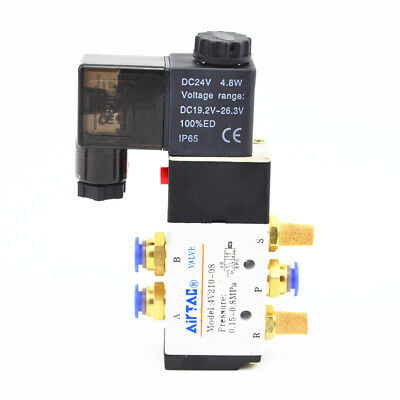 5 Way 2 Position DC24V Air Solenoid Valve 6mm  Fittings Brass Silencer Fittings