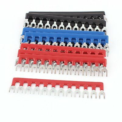 15pcs 400V 10A Fork Shape Pre-Insulated 12P Barrier Terminal Block Strip