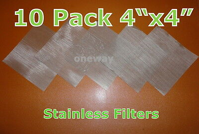 """(10 Pack) 4"""" x 4"""" - 25 Micron High Quality Stainless Steel Mesh- Rosin Tech Bags"""