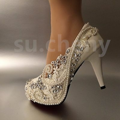 """3 / 4 """" heel white ivory lace crystal pearls Wedding shoes pumps bride size 5-11"""