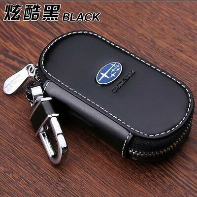NEW Genuine Leather cowhide Car Key Holder Keychain Ring Case Bag For Subaru