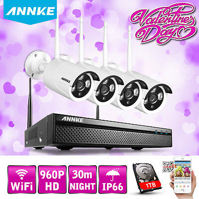 ANNKE 4CH 1280x960P HDMI NVR Wireless IP Network Home Security Camera System 1TB