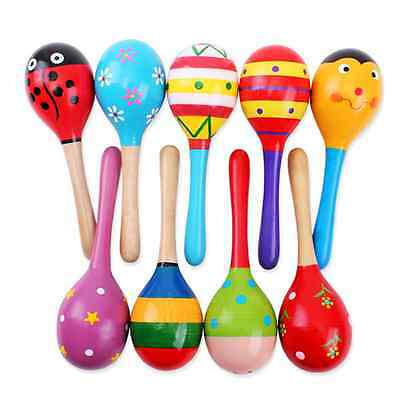 1Pcs Hot Wooden Wood Maraca Rattles Shaker Percussion Kid Baby Musical Toy Gift