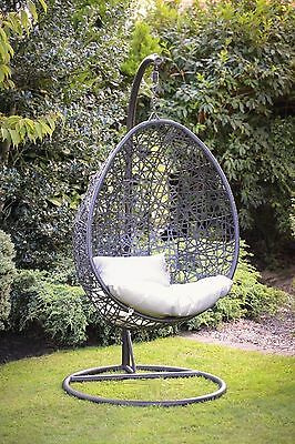 A Stylish Garden Hanging Swinging Wicker Egg Chair with Cushion
