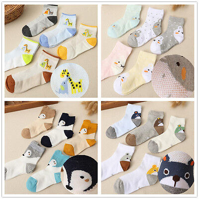 5 Pcs Packed Boy Children's Kids Animals Casual Cotton Short Socks 2-12 years