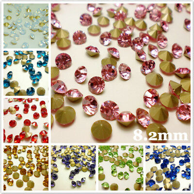 SS39 (8.2mm) Point back Rhinestones Crystal Glass Nail Art Chatons 144ps C1