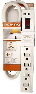 Woods 414028801 6-Outlet White Power Strip With 4' Cord,No 414028801