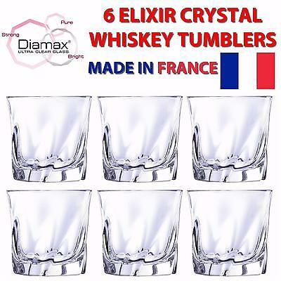 Cristal D'Arques Elixir Set 6 Whisky Tumblers Modern Scotch Bourbon Glasses