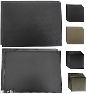 Faux Leather Placemats OR Drinks Coasters Modern Reversible Various Colours New