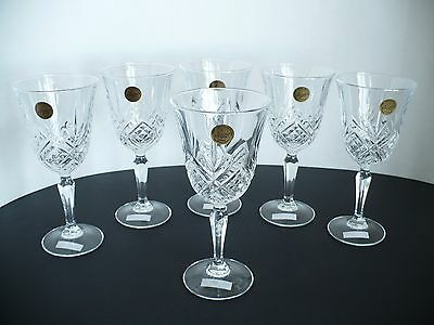 "Set of 6 Cristal d'Arques Crystal Stem Wine Glass. France. Approx 7.4"" Tall"