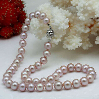 """Jewellery AAA Genuine Cultured 8-9mm Lavender Pearl Necklace 17"""""""