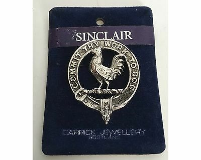 Vintage Scottish Silver Pewter Carrick Clan Badge Pin Brooch Sinclair