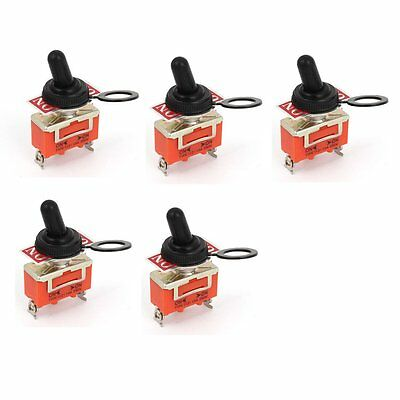 5pcs AC 250V 15A ON--ON 2 Way 3 Terminals SPST Toggle Switch w Cover Cap