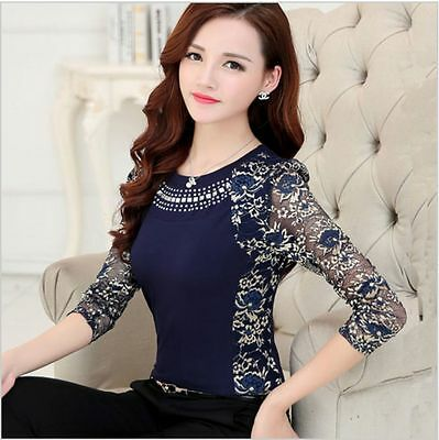 Elegant Classy Lace Top Blouse Slim Vintage Crystals Bow Classic Fancy High Neck
