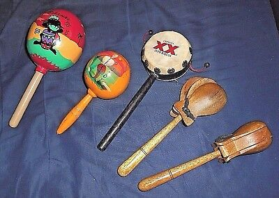 Lot Of 5 Assorted Musical Instruments - Maracas, Spin Drum, Wooden Spoons