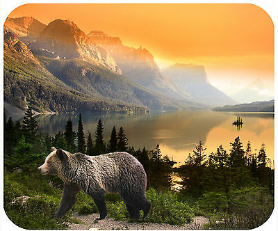 Mouse Pad Custom Personalized Thick Mousepad-Bear In Mountains At Sunset